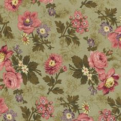 PATTERN PARTY Thimbleberries 1 yard 9035-1 2012 Quilt Club pink flowers on green