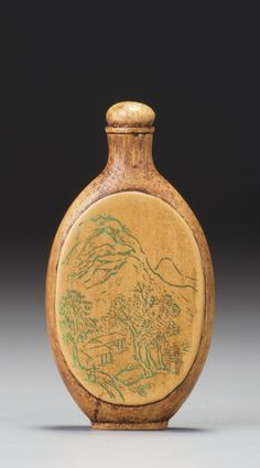 AN INSCRIBED BAMBOO VENEER 'LANDSCAPE' SNUFF BOTTLE ATTRIBUTED TO XINRU (WEN RUANXIN), LATE QING DYNASTY / EARLY REPUBLICAN PERIOD