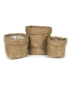 Another great find on #zulily! Burlap Bag - Set of Three #zulilyfinds
