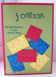 Thanks to Amanda Fowler for this lovely Lego card - great for boys (and girls) cards :)