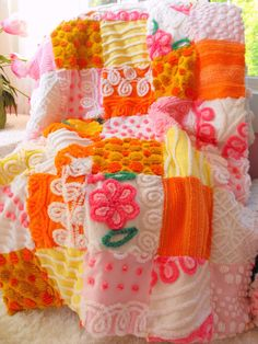 ABSOLUTE PRINCESS Vintage Chenille Patchwork Baby Quilt ORANGE