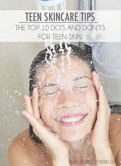 """Beauty Tips Teen Skincare Tips: The top 10 Do's and Don'ts for good skin - Teen skin problems? I've been there and survived! These are my top ten teen skin care """"do's and don'ts"""" to help you banish the pimples and get amazing skin. Go Fitness, Skin Care Routine For Teens, Clear Skin Routine, Eyeliner, Eyebrow Makeup, Beauty Hacks For Teens, Teen Beauty Tips, Beauty Secrets, Beauty Guide"""