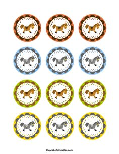 Horse cupcake toppers. Use the circles for cupcakes, party favor tags, and more. Free printable PDF download at http://cupcakeprintables.com/toppers/horse-cupcake-toppers/