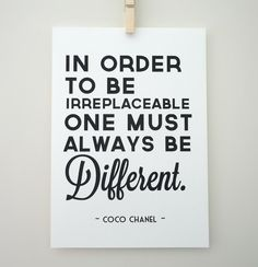 Always Be Different Coco Chanel Print by SacredandProfane