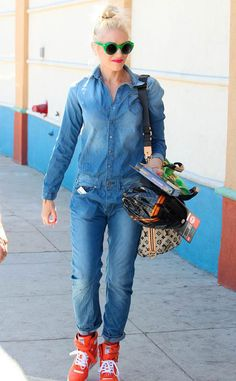 Gwen Stefani steps out in G-Star's Arc 3D Boiler suit and Puma's wedge sneakers.