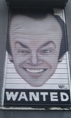 Brilliant Jack Nicholson portrait shutter in Manchester's Northern Quarter - by AKSE