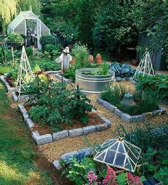 Handsome veggie garden layout--complete with above-ground koi pond in the middle. #gardenlayouts