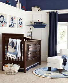 I want to do the wainscoating with shelf under curtain on walls with crib & changing table - dark blue ceiling, lighter yellow walls with red & white striped curtains on window and closet.
