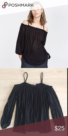 Off the shoulder top Zara women's off the shoulder top. Arms are 3/4, body is very sheer. If you wanted to lose the straps they can easily be tucked in! Super cute. Looks best when worn w/ a cute black bra under Zara Tops Blouses