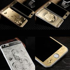 Front+Back Luxury Gold&Silver 3D Painting Full Cover Color Tempered Glass case For iphone 5 5S 5SE 6 6S Plus Screen Protector //Price: $US $2.89 & FREE Shipping //     #iphone