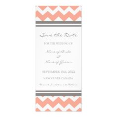 Coral Grey Wedding Save the Date Card: the chevron makes it perfect!!