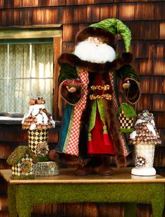 The Bird-Watching Father Christmas stands 3' tall! His plush velvet coat is banded with Orchard Check and trimmed with faux fur.