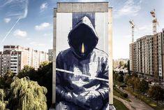 """Man With No Name"" by Minsk Belarus by instagrafite Murals Street Art, Graffiti Art, Urbane Kunst, Smart Art, Unusual Art, Grid Design, Stencil Art, Mural Painting, Paintings"