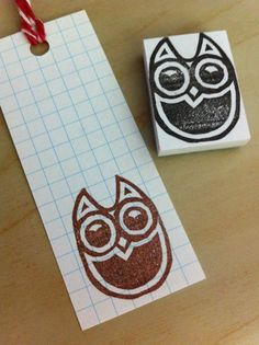 Hand carved rubber stamp - Wise Owl. $6.00, via Etsy.