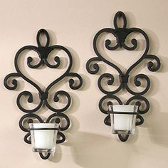 """Hosley's Set of 2 - 10.6"""" High Iron Wall Sconces"""