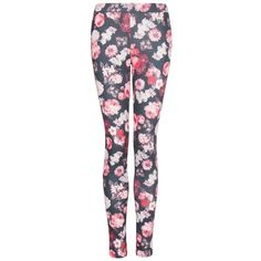 MANGO Floral print leggings (26 CAD) ❤ liked on Polyvore featuring pants, leggings, jeans, bottoms, calças, strawberry, floral printed pants, floral printed leggings, floral leggings and stretch waist pants