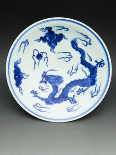 Sometsuke porcelain dish in Kameyama style with design of dragon by Hirado Tousyo