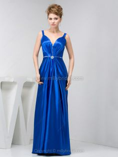 Sheath/Column Straps Elastic Woven Satin Floor-length Rhinestone Prom Dresses
