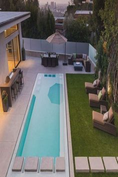 35 Small Backyard Swimming Pool Designs Ideas Love Swimming pools have the capacity to perk up an outside whether for enjoyment or simply hanging out. Some benefit health and fitness and workout, while others are winsome adequate to Amazing Swimming Pools, Small Swimming Pools, Small Pools, Swimming Pools Backyard, Swimming Pool Designs, Small Backyards, Lap Pools, Indoor Pools, Small Backyard Design