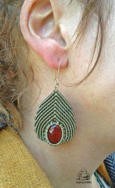 Carnelian macrame earrings handmade earrings por byLaughingBuddha
