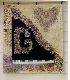 THIS ABSOLUTELY BEAUTIFUL!!! Quilt Wall Hanging  Beige Pink Floral Heart by DavidsonStudio, $350.00