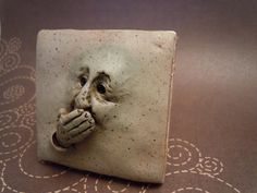 "Tile from Rebecca Reed Designs. Modify this concept -- the ""Speak No Evil"" tile -- to become the ""Eat No Evil"" bowl."