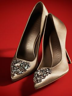 Crystal gem embellished Burberry satin pumps for the festive party season