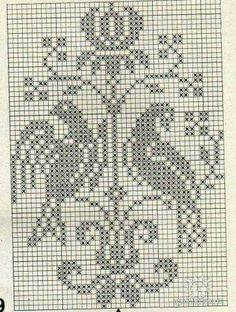 A nice pattern for cross stitch embroidery or filet crochet. Cross Stitch Bird, Cross Stitch Borders, Cross Stitch Charts, Cross Stitch Designs, Cross Stitching, Cross Stitch Embroidery, Embroidery Patterns, Cross Stitch Patterns, Crochet Patterns