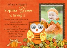 First fall Birthday Printables Free | Owl Birthday Invitation - Fall Girl - Custom Printable by 3 Peas ...