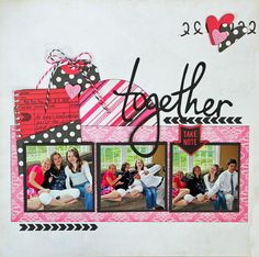 "#papercraft #scrapbook #layout Could use two rows of photos...or adapt to two page layout. Kathleen Skou's layout using ""Love Story"" collection by Echo Park Paper"