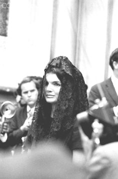 Jacqueline Kennedy at Funeral of Senator Robert Kennedy Jacqueline Kennedy attending the funeral of Senator Robert Kennedy who was assassinated on June 5, 1968.  Date Photographed:June 06, 1968.http://en.wikipedia.org/wiki/Jacqueline_Kennedy_Onassis  ❤✿❤