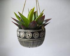 O Y S T E R || pot suspendu en céramique tribal