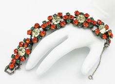 Juliana Bracelet Tangerine and Olivine by HeirloomBandB on Etsy, $149.00