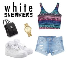"""white sneakers"" by c-knapp ❤ liked on Polyvore featuring NIKE, rag & bone/JEAN and Topshop"
