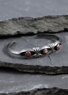 NAVAJO Coral Sand Cast Cuff Bracelet