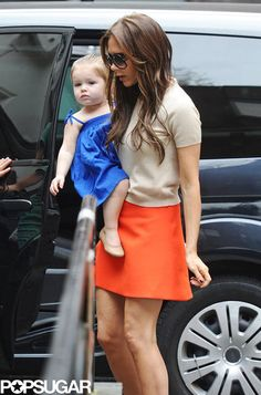Victoria Beckham and Harper make a bright stop | Pictures here