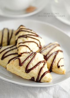 Cream Scones Drizzled with Chocolate from @Amy Lyons Lyons Johnson / She Wears Many Hats