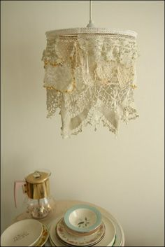 Doily lampshade - This is adorable