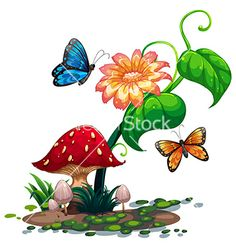 A flowering plant with butterflies vector. Mushroom garden by iimages on VectorStock®