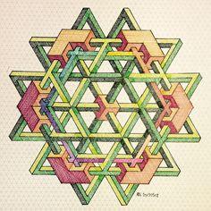 #impossible #isometric #penrosetriangle #Oscar_reutersward #symmetry #geometry #pattern #Escher #mcescher #handmade #handpaint #triangle #triangleimpossible #artist_sharing #art_empire 1