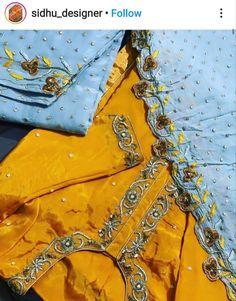 Punjabi Suits Designer Boutique, Boutique Suits, Designer Salwar Suits, Hand Embroidery Dress, Embroidery Suits Design, Embroidery Patterns, Indian Suits, Indian Dresses, Panjabi Suit