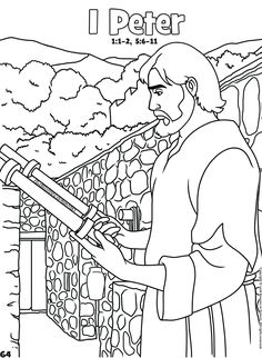 1 Peter: Books of the Bible Coloring Abc Coloring Pages, Coloring Pages For Kids, Coloring Books, Kids Coloring, Peter Bible, Old And New Testament, 1 Peter, Color Activities, Bible Stories