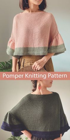 """Swoncho Knitting Pattern Poncho Sweater Pomper Jumper Poncho-style, cropped sweater top with ruffled armholes. Sizes Bust 143 ( 147, 156, 162 )( 171, 180 ) cm/ 56.25 ( 57.75, 61.5, 63.75 )( 67.25, 70.75 )"""" Aran weight yarn. Designed by Irene Lin. Poncho Knitting Patterns, Knitting Stiches, Knitting Designs, Knitting Projects, Hand Knitting, Crochet Patterns, Sweater Patterns, Knit Shrug, Knitted Poncho"""