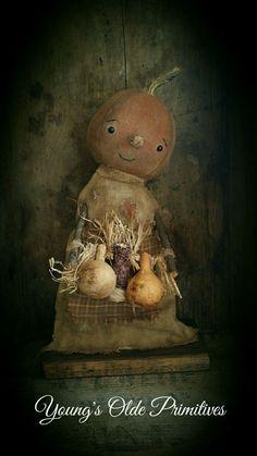**Primitive Standing Pumpkin Girl Doll Fall Halloween** #NaivePrimitive