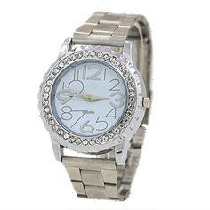 Damen und Herren Crystal Kristall Edelstahl Armband Analog Quarz Armbanduhr Silber - http://uhr.haus/sanwood/damen-und-herren-crystal-kristall-edelstahl
