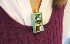 Pride and Prejudice Bookshelf Necklace by Coryographies at etsy.com