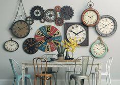 Clock Art, Clock Decor, Wall Of Clocks, Stairway Lighting, Family Room Walls, Cuisines Diy, Clock Display, Kitchen Wall Colors, Room Decor