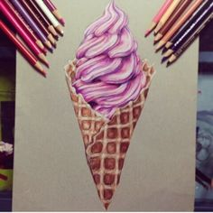 pencil art Im always hungry for ice cream or a good sketch. but mostly ice cream:) Realistic Drawings, Colorful Drawings, Food Drawing, Painting & Drawing, Pencil Drawings, Art Drawings, Horse Drawings, Color Pencil Art, Love Art