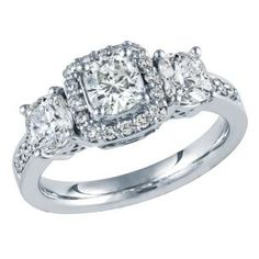14kt White Gold 2ct TW Cushion Cut Three-Diamond Anniversary Ring, IGI Graded
