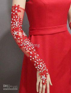 #Broca Sensuais Longas Luvas De Dança# De Noiva Vermelho Luvas Partido Jantar Luvas Pretas Estúdio Fotográfico Em